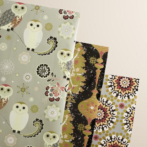 Owl Winter Soiree Wrapping Paper Rolls, 3-Pack
