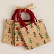Mini Trees Kraft Value Gift Bags, Set of 3
