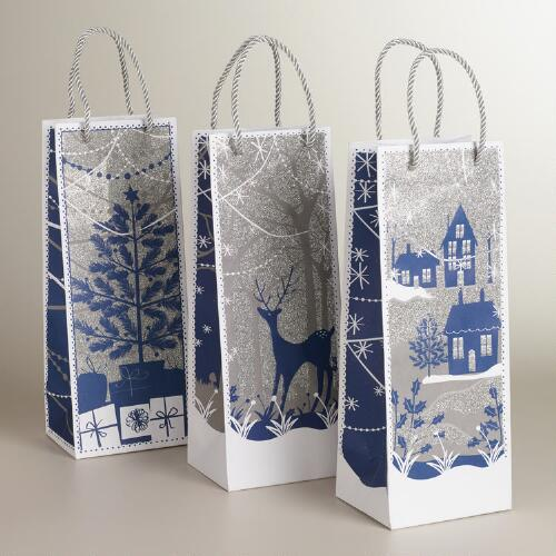 Blue and Silver Glitter Value Wine Bags, Set of 3