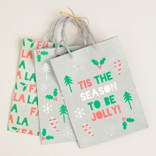 Medium Candy Canes Value Gift Bags, Set of 3