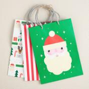 Medium Santa Stripe Value Gift Bags, Set of 3