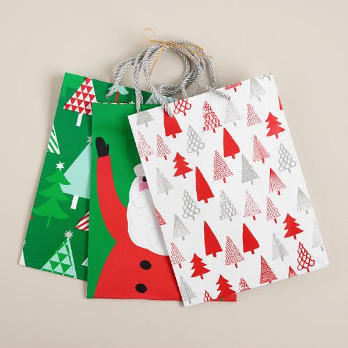 Medium Santa and Trees Value Gift Bags, Set of 3