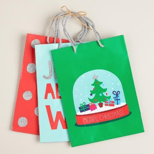 Medium Snow Globe Value Gift Bags, Set of 3