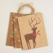 Medium Kraft Animals Value Gift Bags, Set of 3
