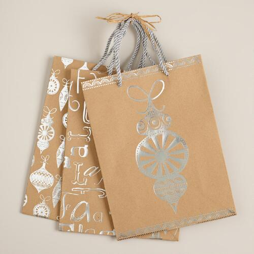 Medium Ornaments Value Gift Bags, Set of 3