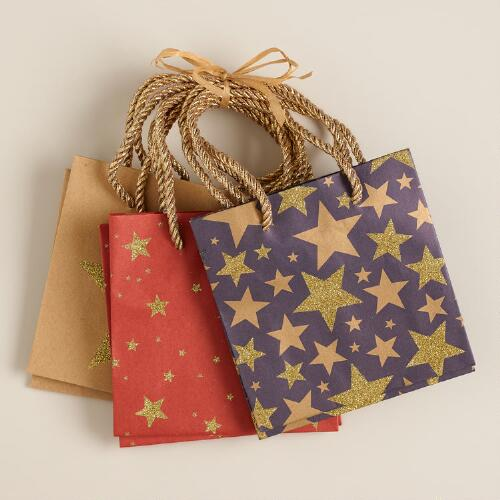 Mini Kraft Stars Value Gift Bags, Set of 3