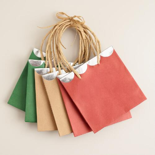 Mini Kraft Scalloped Value Gift Bags, Set of 3
