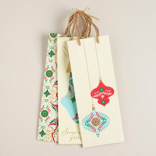 Ornaments Value Wine Gift Bags, Set of 3