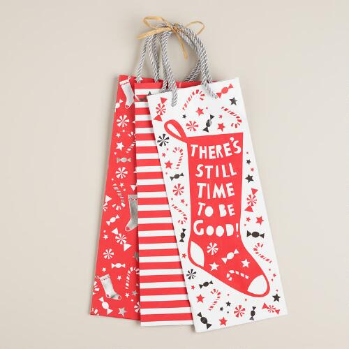 Stocking Stripes Value Wine Gift Bags, Set of 3