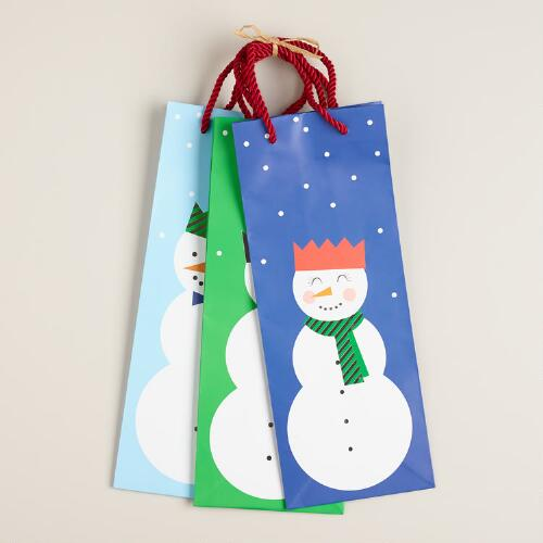 Snowmen Value Wine Gift Bags, Set of 3
