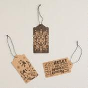 Black Ink Kraft Gift Tags, Set of 6