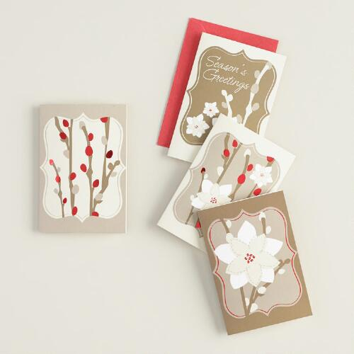 Floral Holly Gift Tags with Envelopes, Set of 4