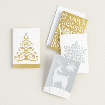 Gold and Silver Gift Tags with Envelopes, Set of 4
