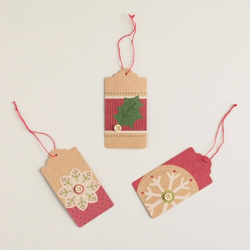 Red and Green Kraft Gift Tags, Set of 6