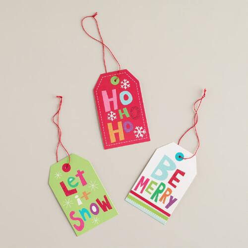 Bright Font Gift Tags, Set of 6