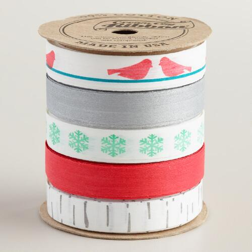 Paper and Wood Snowbirds Ribbon, 5-Pack