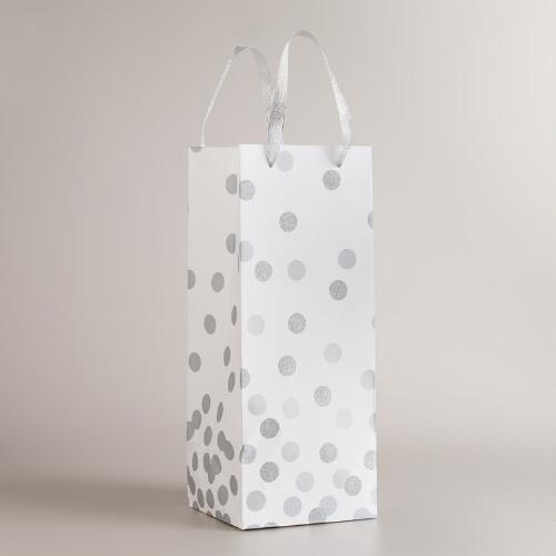 Extra-Large Silver Confetti Wine Bag