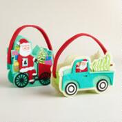 Felt Retro Santa Containers, Set of 2