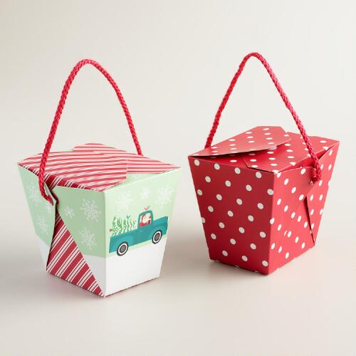 Medium Retro Santa Dot and Stripe Takeout Boxes, Set of 6