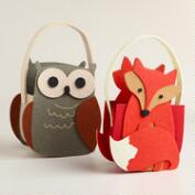 Woodland Owls Felt Baskets, Set of 2