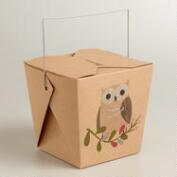 Medium Woodland Owl Takeout Boxes - Set of 6