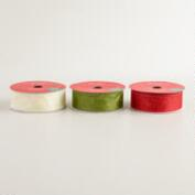 Red, Green and Cream Glitter Organza Ribbon, 3-Pack