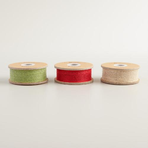Red, Green and Natural Jute Ribbon, 3-Pack