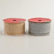 Silver and Natural Burlap Fringe Ribbon, 2-Pack