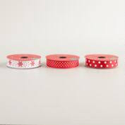 Satin Dots and Snowflakes Ribbon, 3-Pack