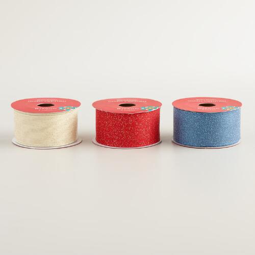 Glittered Organza Ribbon, 3-Pack