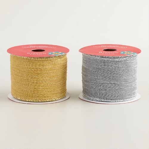 Gold and Silver Metallic Ribbon, 2-Pack