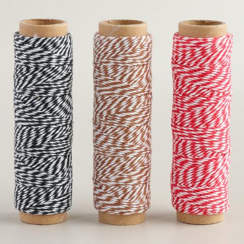 Red and White Striped Gift Twine, 3-Pack