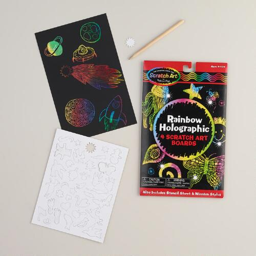 Melissa and Doug Scratch Art Rainbow Holographic Set