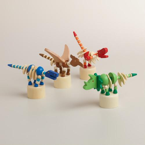 Wooden Dinosaur Push Puppets, Set of 4