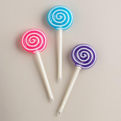 Lollipop Light-Up Pens, Set of 3