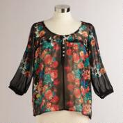 Black CeCe Floral Blouse