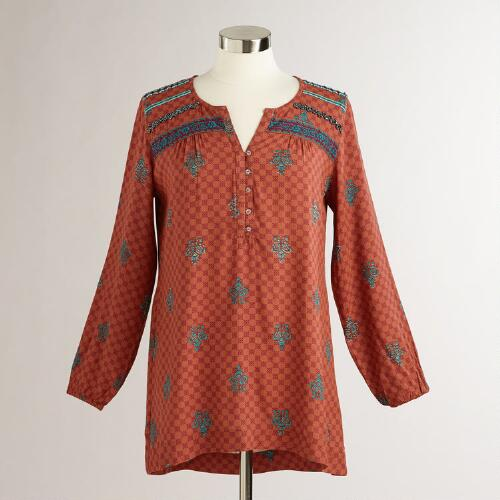 Rust Beaded and Printed Tamara Peasant Blouse