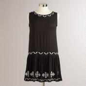 Black and Ivory Tribal Drop-Waist Callie Dress
