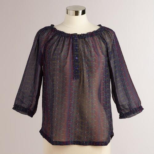 Ruched Purple Kira Peasant Blouse