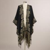 Black and Cream Floral Lana Wrap