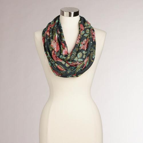 Blue with Coral Roses Infinity Scarf