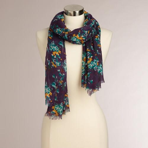Navy and Gold Floral Scarf