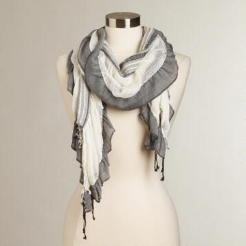 Cream & Black Ruched Scarf