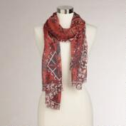 Red Geo Tribal Border Scarf