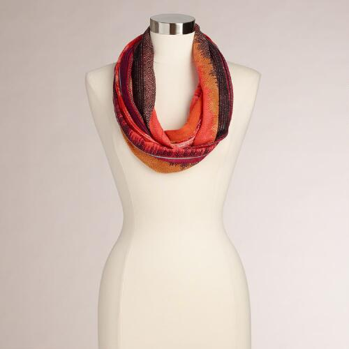 Warm Multicolored Tribal Stripe Infinity Scarf