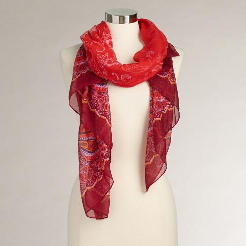 Wide Red Paisley Scarf