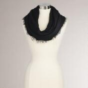 Black Woven Infinity Scarf with Fringe