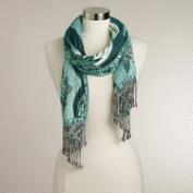 Green Burnout Jaquard Scarf