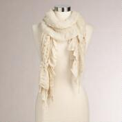 Cream Ruched Scarf with Lurex