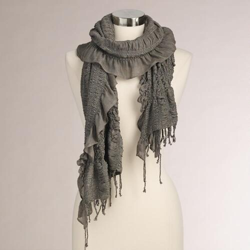 Gray Ruched Scarf with Lurex
